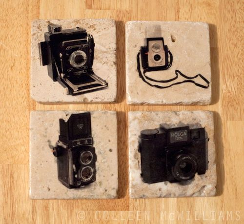 Vintage Camera Coasters at Ink the Print
